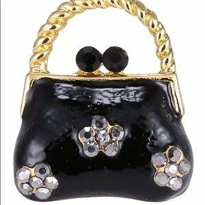 Handbag Brooch pin crystals black